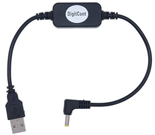 DigitCont USB 5 V auf DC 12 V 4 mm x 1,7 mm Stromkabel, kompatibel mit Echo-Geräten, USB Spannungs-Step-Up-Konverterkabel, Netzteil Adapterkabel, 1 Fuß, DC 5 V auf DC 12 V Kabel 1 ft (Alte Version)