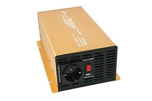 Wechselrichter - Spannungswandler 12V 300 bis 3000 Watt reiner SINUS mit echtem Power USB 2.1A Gold Edition … (1000-2000 Watt)