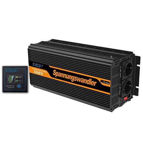 EDECOA Wechselrichter 3000w Spannungswandler 12v 230v mit Fernbedienung und 2x USB und 3000w Spitze Wechselrichter 12v 230v modifizierte sinus inverter