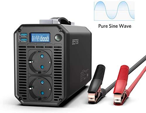 Reiner Sinus wechselrichter DC 12v auf AC 230v/BESTEK 1000W stromwandler 12 auf 230/steckdose Auto Adapter/Auto wechselrichter,Inverter mit LCD-Display, 4 Sicherungen, Batterieclip