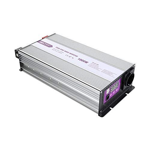 BELTTT Reiner Sinus Wechselrichter Spannungswandler mit LED Display, 2 USB Anschlüsse und EU Steckdose Umwandler Inverter Konverter für Fahrzeug Solar Hause Schiffe (1000W/12V)