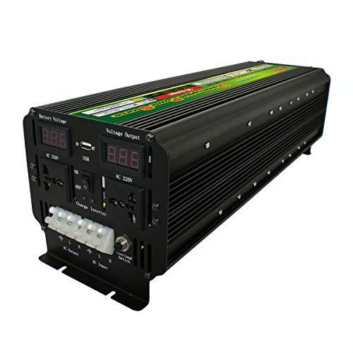 QWERTOUY 10000W (Peak) 12 / 24V bis 220V UPS-Energien-Inverter für Solar/Wind Wiederaufladbare LCD-Display 5000Watt Sinus Converter