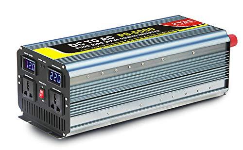 Auto Wechselrichter, 5000W/10000W Peak KFZ Reiner Sinus Spannungswandler Wechselrichter DC 24V/48V/60V Auf AC 220V Konverter Mit Universal Steckdose Und USB Autoladegerät,für Auto, Boot,Camping,48V
