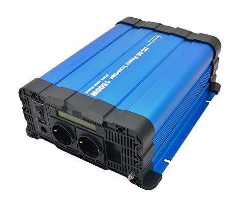 solartronics Spannungswandler FS1500D 24V 1500/3000 Watt Reiner Sinus BLAU m. Display FS Serie Inverter Wechselrichter