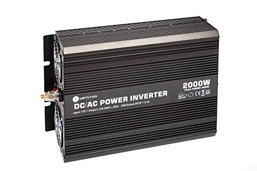 WATTSTUNDE WS12/2000SI Wechselrichter 12v auf 230v - 2000W / 4000W reiner Sinus Spannungswandler (2000)