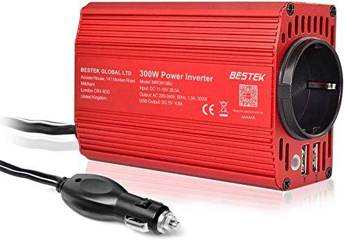 Spannungswandler 12v 230v / 300W Wechselrichter/BESTEK Stromwandler 12 auf 230 Inverter/mit Tüv Zertifiziert und 2 USB Anschlüsse inkl. Kfz Zigarettenanzünder Stecker,Autobatterieclips Rot