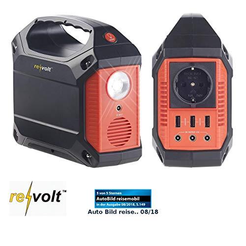 reVolt Powerstation Solar: Powerbank & Solar-Konverter, 42 Ah, 155 Wh, 230 V, 12 V, USB, 180 Watt (Solarconverter)