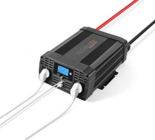 Technaxx Wechselrichter 2000W TE20-Zur mobilen Nutzung verschiedener Elektrogeräte über 12V Anschluss, 2X 230V Steckdosen, Alarm, Überlastungsschutz, Stromwandler, 2X USB, LC-Display, Reisen, Camping