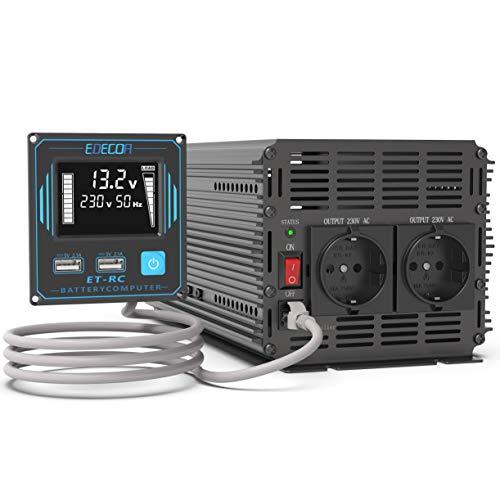 EDECOA 2000w Wechselrichter 12v 230v Spannungswandler Reiner Sinus mit Fernbedienung 2X USB und Bildschirm LCD für Wohnmobil, Sonnenkollektor KFZ