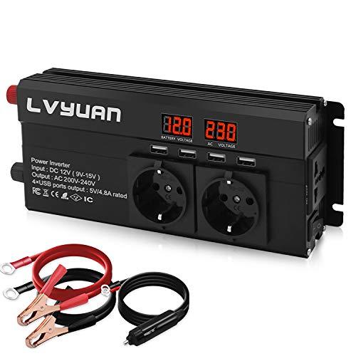 LVYUAN Spannungswandler 12V 230V 800W / 1600W Wechselrichter mit 3 Steckdose und 4 USB LED Spannungsanzeige