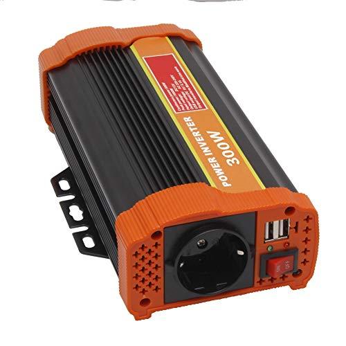 Wechselrichter 300W KFZ Spannungswandler - Auto Wechselrichter 12v auf 230v Umwandler - Inverter Konverter mit EU Steckdose und USB-Port (300W)