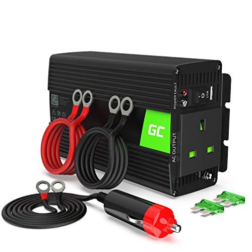 Green Cell® 300W/600W 24V auf 230V Reiner Sinus Wechselrichter Auto LKW Spannungswandler inkl. Stecker für Zigarettenanzünder, USB-Ladeanschluss und Direktanschluss an Batterie, UK-Steckdose