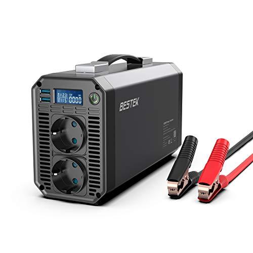 BESTEK Converter 1200W Eingang 11-15V, Ausgang 220-240V 50HZ Wechselrichter mit 2 USB-Anschlüssen 4.2A LED-Leuchtanzeige und 4 Sicherunge