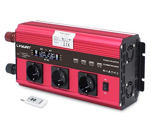 Wechselrichter 2500W / 5000W Spitze 12V 230V Spannungswandler | Fernbedienung | LCD | 4 USB