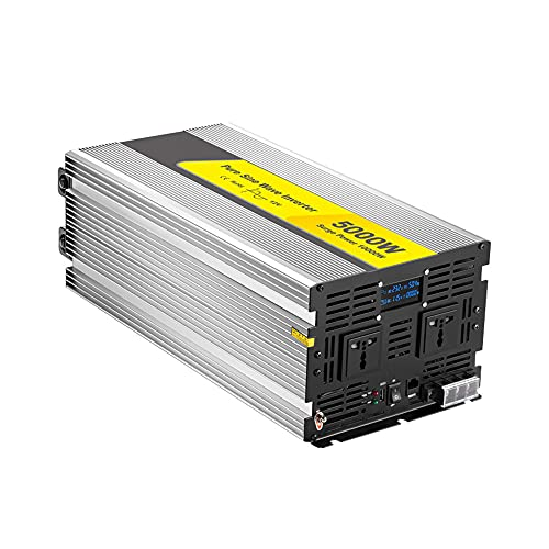 J-Love 5000W Reiner Sinus-Wechselrichter, Spitzenleistung 10000W, 12V 24V DC bis 110V 220V AC, mit LED-Anzeige, 2 AC-Steckdosen und USB-Anschluss für Wohnmobile