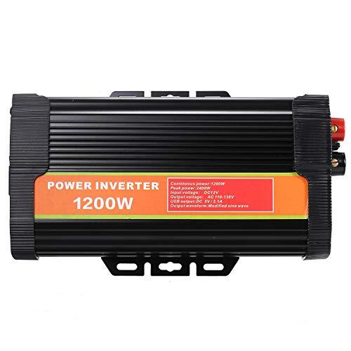 Decdeal Wechselrichter Reiner Sinus 1200w Spannungswandler DC 12V Zu AC 110V-120V 220V-240V KFZ Inverter Mit 2.1A Dual USB Port