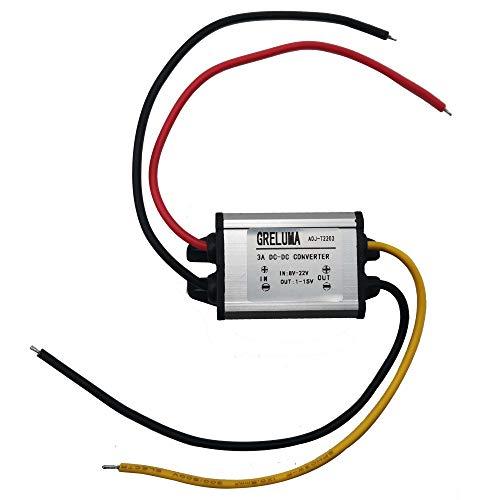 Greluma 1 Stk 5-V-Gleichstromwandler, wasserdichter Gleichstrom-Abwärtswandler 8V-22V 12V Schritt runter auf 1V-15V 6V 9V 3A Einstellbares Spannungsreglermodul für die Stromversorgung