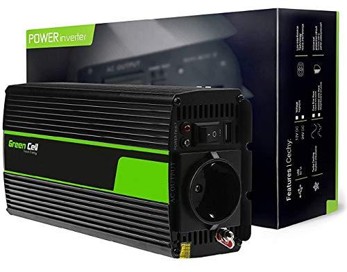Green Cell® 300W Reiner Sinus Spannungswandler Wechselrichter DC 12V auf AC 230V Inverter für Auto inkl. Stecker für Kfz-Zigarettenanzünder mit USB-Ladeanschluss und Direktanschluss an Autobatterie