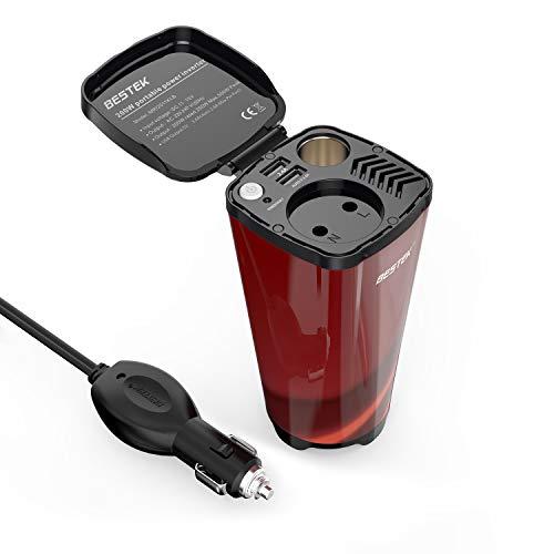 BESTEK Auto Wechselrichter 200W Tasseförmiger KFZ Spannungswandler DC 12V auf AC 230V Power Inverter mit 2 USB Anschlüsse, Zigarettenanzünder-Adapter