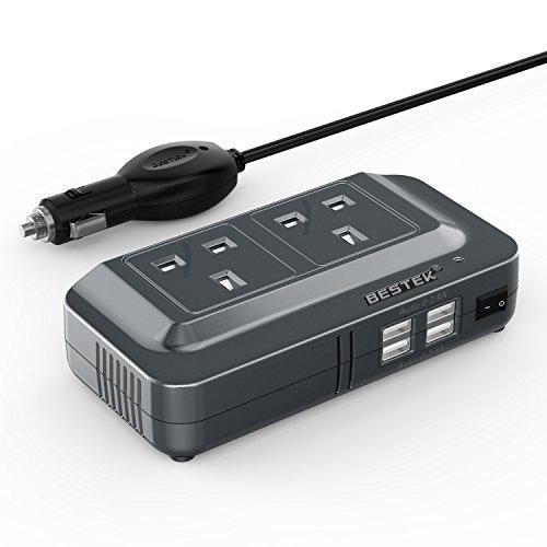 BESTEK 200 W Wechselrichter DC 12 V auf AC 230 V 240 V Auto Spannungswandler mit 3-poligen Steckdosen & 4-USB-Ports