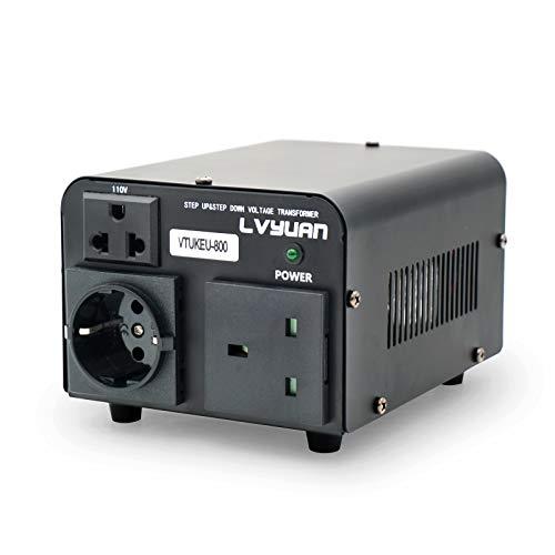 Yinleader 800VA 110 Volt USA Spannungswandler Ringkern-Transformator 800 Watt - In: 110V oder 220V / Out: 110V und 220V (Beinhaltet UK- und europäische Stecker)