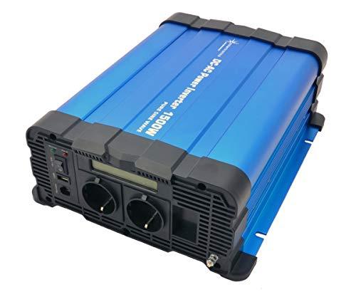 solartronics Spannungswandler FS1500D 12V 1500/3000 Watt Reiner Sinus BLAU m. Display FS Serie Inverter Wechselrichter