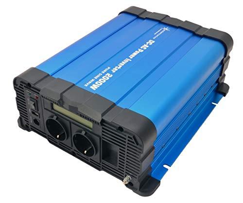 solartronics Spannungswandler FS2000D 12V 2000/4000 Watt Reiner Sinus BLAU m. Display FS Serie Inverter Wechselrichter