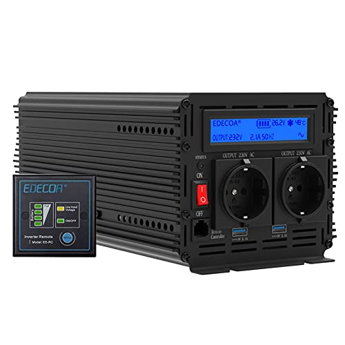 EDECOA Wechselrichter 2000w Spannungswandler 24v 230v Wechselrichter modifizierte Sinus 24v 220v LCD mit Fernbedienung und Zwei USB-Ports