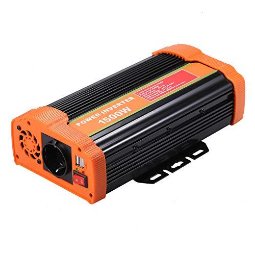 Decdeal Wechselrichter 1500w Spannungswandler DC 12V Auf AC 110V-120V 220V-240V KFZ Inverter Mit 2.1A Dual USB Port