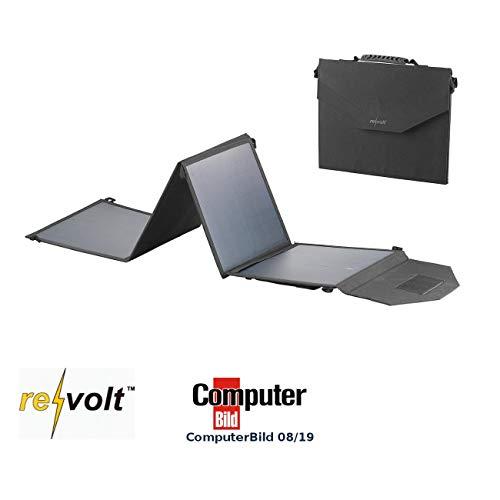 reVolt Falt Solarpanel: Mobiles, faltbares Solarpanel, 4 monokristalline Solarzellen, 50 Watt (Solarpaneele)