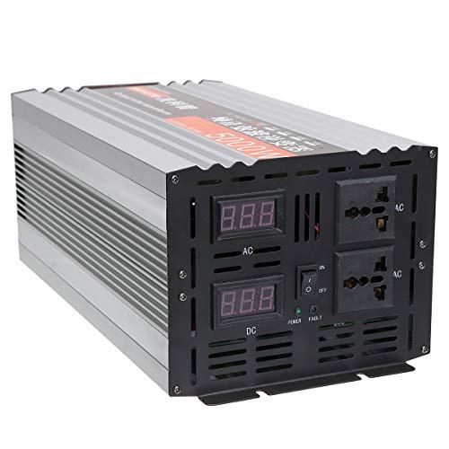 QWERTOUY Reiner Sinus-Wellen-Inverter Dual-LED-Anzeige 5000W Spannungswandler 12V / 24/48 / DC bis 220V AC Converter