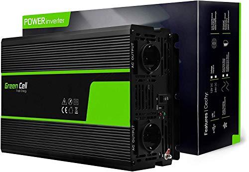 Green Cell® 2000W Spannungswandler Wechselrichter DC 12V auf AC 230V Inverter für Auto inkl. Stecker für Kfz-Zigarettenanzünder mit USB-Ladeanschluss und Direktanschluss an Autobatterie