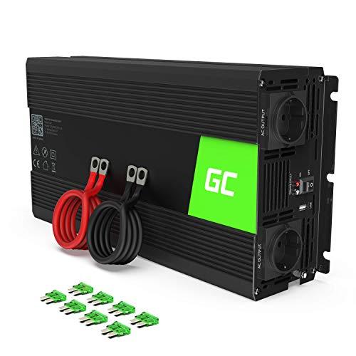 Green Cell® 1500W/3000W 12V auf 230V Reiner Sinus Volt kfz Spannungswandler Wechselrichter Konverter Pure Sine Wave Power Solar Inverter DC AC Umwandler Stromwandler Wohnwagen Auto Autoladegerät