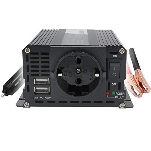 Wechselrichter 400W /500W Stoßkraft 12V auf 230V 2 USB Europäische Steckdosen kfz Spannungswandler Inverter DC AC Umwandler Stromwandler Wohnwagen Auto Zigarettenanzünder Steckdose