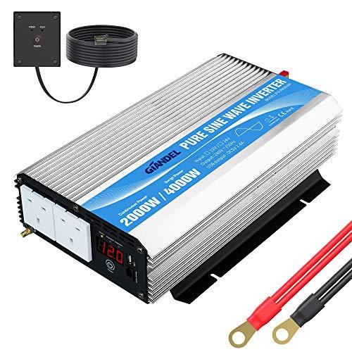 Reiner Sinus-Wechselrichter 2000 W DC 12 V auf AC 240 V Konverter mit Fernbedienung & Dual-AC-Steckdosen für Wohnmobil, LKW, Auto GIANDEL