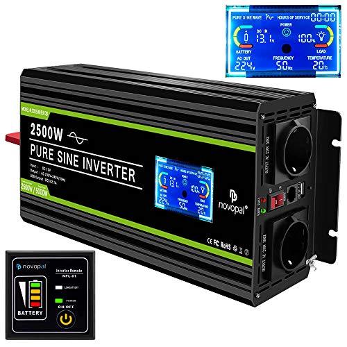 NOVOPAL Spannungswandler 12V 230V Pure Sinus 2500W Fahrzeug Wechselrichter mit LCD-Display und USB-Anschluss + 2 Wechselstromsteckdosen + Fernbedienung + Zwei Lüfter