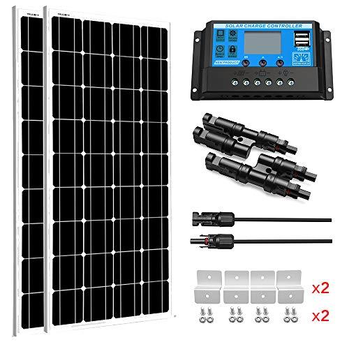 SUNGOLDPOWER Solarpanel Monokristallin Solarmodul 200 Watt 12V:2pcs 100W Monokristallin Solar Panel+20A LCD PWM SolarLaderegler