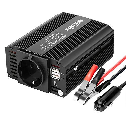 Bapdas 300W Kfz-Wechselrichter/Spannungswandler DC 12 V auf AC 230 V, 220V inkl. USB-Anschlüssen (4,2 A)