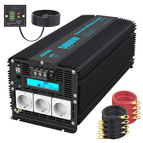 5000W Modifizierter Sinus Wechselrichter 12V auf 230V Spannungswandler Power Inverter mit Bildschirm LCD 3 AC-Steckdosen Dual USB-Anschlüsse und Fernbedienung für LKW-Wohnmobile [24 Monaten Garantie]
