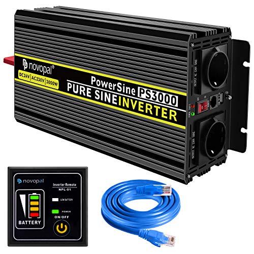 novopal® Spannungswandler 24V auf 230V 3000W/6000W Reiner Sinus Wechselrichter Konverter mit Zwei AC-steckdosen mit Fernbedienung und 2.1A USB