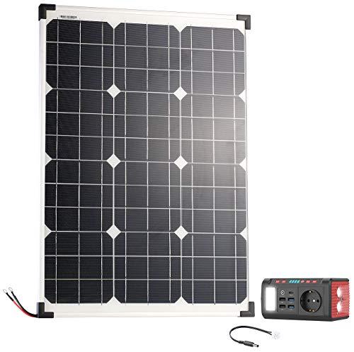 reVolt Solaranlagen: Mini-Powerbank & Solar-Konverter mit Solarpanel, 24 Ah, 120 Watt (Power Akku)