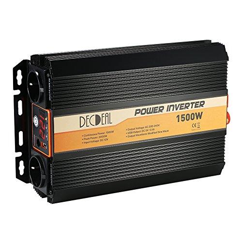 Decdeal Wechselrichter 1500W / 3000W Spannungswandler 12V 220V mit USB Port und AC Steckdose, Modifizierte Auto Wechselrichter USB Ports Dual 5V / 2.1A