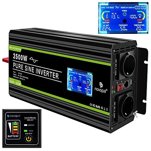 NOVOPAL Spannungswandler 24v 230v Reiner Sinus 2500W Kfz Wechselrichter mit LCD-Display und USB-Anschluss + 2AC-Steckdosen + Fernbedienung + Batteriekabel und Handbuch