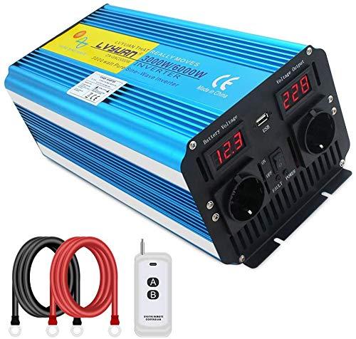 Yinleader Spannungswandler 3000W 12V 230V Reiner Sinus Wechselrichter Fernbedienung 2 LED Power Inverter 2 Steckdose und USB /6000W Stoßkraft