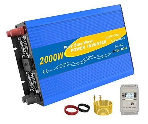 Spannungswandler 2000W (Spitzenleistung 4000W) für 12V auf 230V Inverter Transformator Stromwandler mit 2 AC-Steckdosen+Fernbedienung +LCD