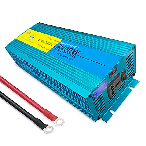 WBJLG Auto-Wechselrichter Auto Reiner Sinus-Wechselrichter 5000W Spannungswandler DC 12V / 24V zu AC 110V 220V Wechselrichter mit USB-Anschlüssen für Wohnmobil-Auto-Solarsystem