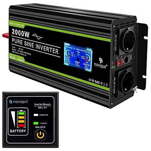 NOVOPAL spannungswandler 24v 230v Reiner Sinus 2000W Kfz wechselrichter mit LCD-Display und USB-Anschluss + 2AC-Steckdosen + Fernbedienung + Batteriekabel und Handbuch