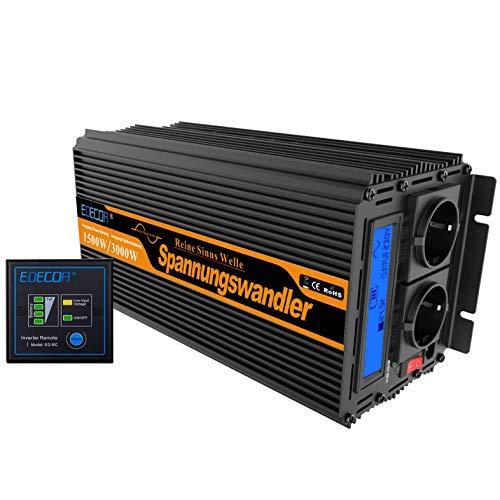EDECOA Spannungswandler 24v 230v Wechselrichter Reiner Sinus 1500w 24V 230V LCD Konverter 24v auf 230v mit Fernbedienung 230v 24v Wandler 1500w Reiner Sinus