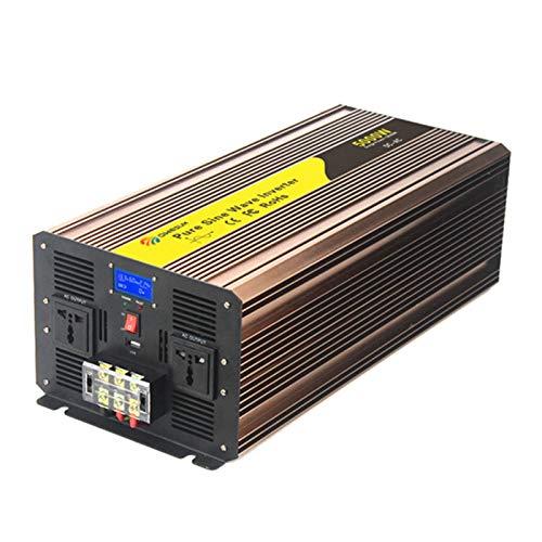 Reine Sinuswelle 5000 Watt - Peak 10000 W Wechselrichter Wandler DC 12V / 24V / 48V bis 110V / 220V AC mit LCD-Anzeige 2 AC-Steckdosen und USB-Anschlüsse für PKW/RV/LKW/Boot