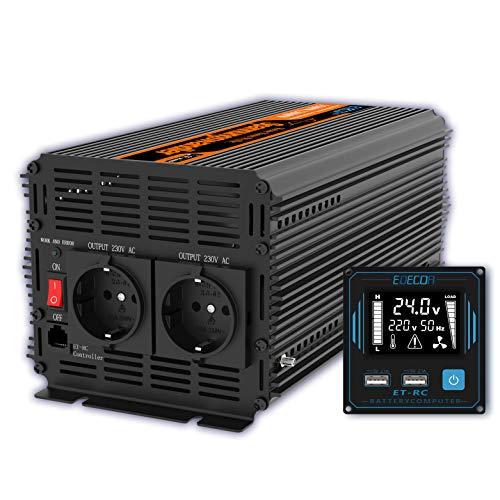 EDECOA Spannungswandler 24v 230v Wechselrichter Reiner Sinus 1500w 24V 230V LCD Konverter 24v auf 230v mit Fernbedienung und 2 USB 230v 24v Wandler 1500w Reiner Sinus (Neue Fernbedienung)